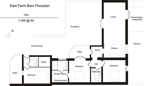 Floor plans for barn conversion in Low Catton, East Yorkshire