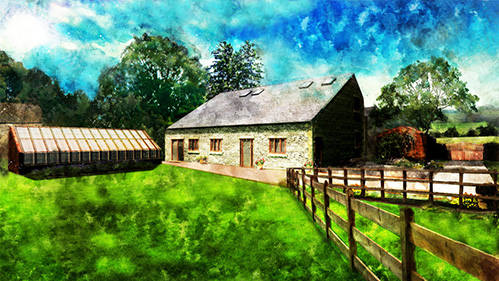 Partly renovated barn conversion in Abbey Village, Chorley, Lancashire