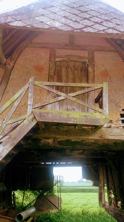 Dismantled and labelled oak barn frame for sale in the North East of France