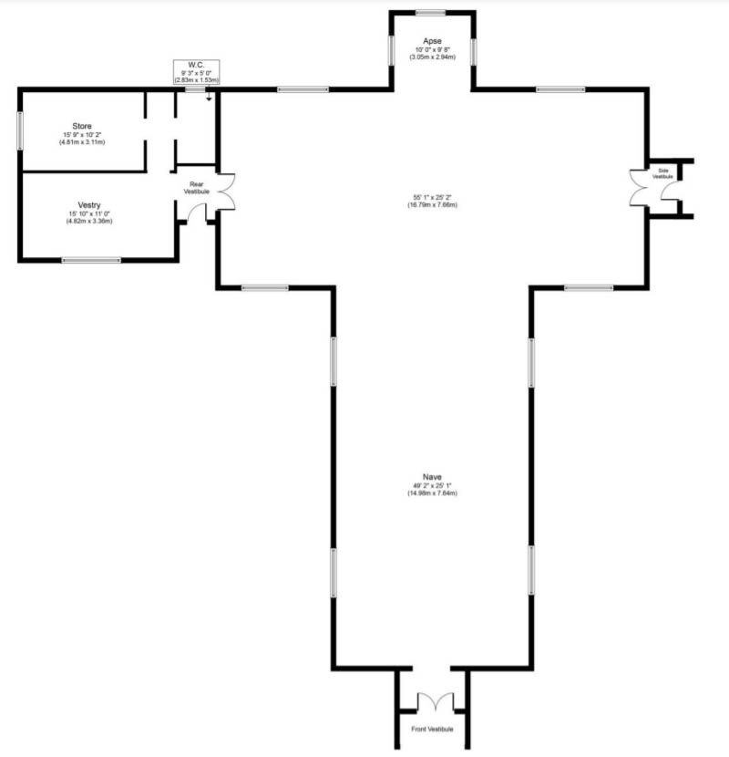 Floorplan of Gothic church for sale Borgue, Kirkcudbright
